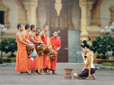 Monks In Bangkok, Thailand